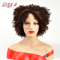 Dula a Ombre Brown Black High Density Temperature Synthetic Wig For Black/White Women Kinky Curly Cosplay Hair Wig