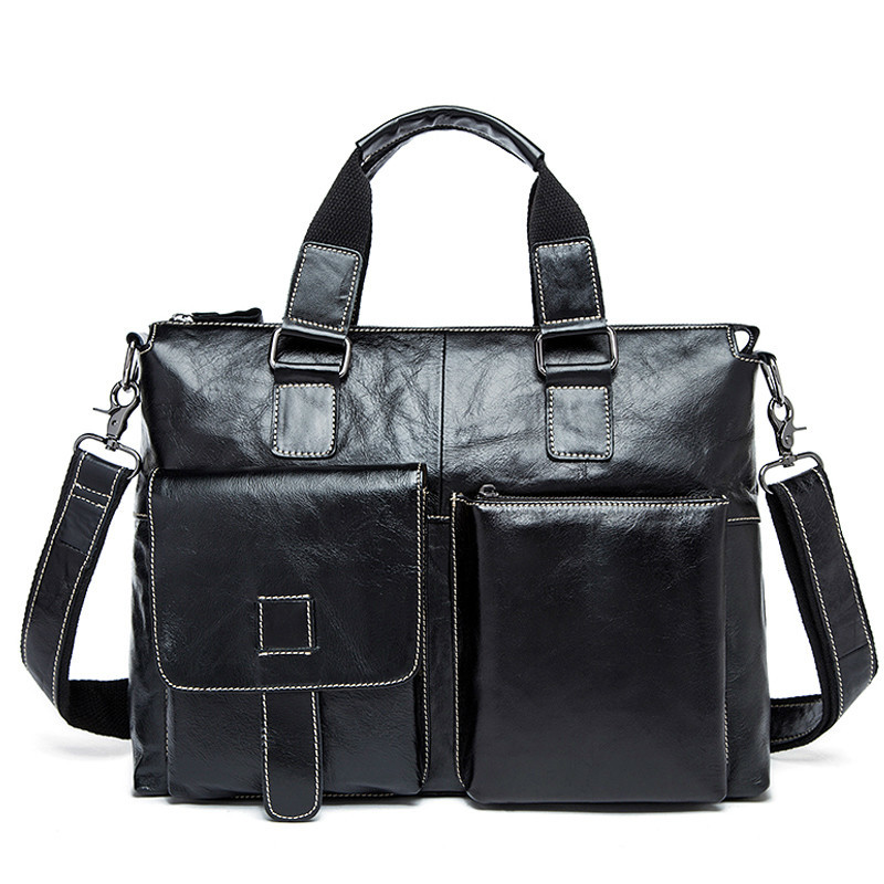 Male 14 Laptop Bags Messenger Bag For Men Leather Briefcase Lawyer Business Men s Briefcases Genuine