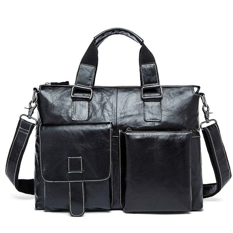 Männlich 14 Laptop Taschen Messenger Tasche Für Männer Leder Aktentasche Anwalt Business männer Aktentaschen Aus Echtem Leder männer Tasche-in Aktentaschen aus Gepäck & Taschen bei  Gruppe 1