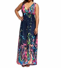 Summer Women High Waist Plus Size Dress Deep V Neck Sleeveless Print Dresses Bohemian Casual Beach Long Maxi Robe summer deep v neck high waist maternity maxi dresses sleeveless draping long evening gown for pregnant women dinner slim dress