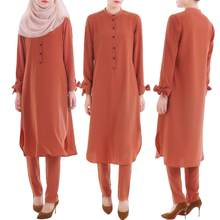 Abaya Muslim Women Sets Middle East Outfiits Islamic Shirt Dress+Pants Suits Turkey Robe Dubai Arab Gown Casual Prayer Clothing(China)