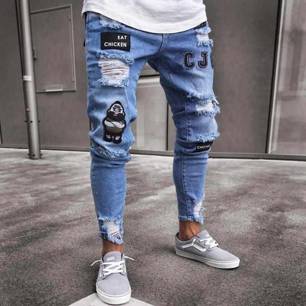 Mokewen Mens Destroyed Damaged Hole Broken Ripped Jeans