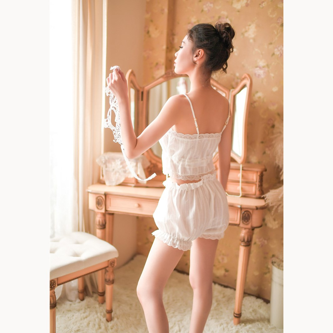 Sexy Cotton Women White   Pajamas     Set   Lace Shirts Shorts Sleepwear Fashion Sleeveless Nightwear   Sets