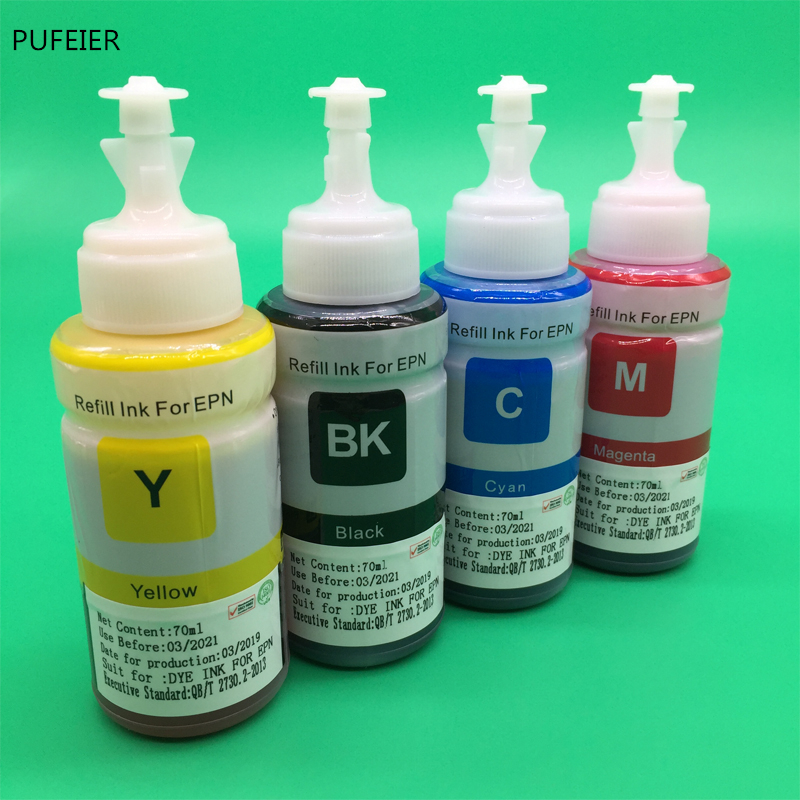4PCS 70ML T664 OEM Refill Dye Ink Kit For Epson L220 L301 L303 L310 L313 L351 L353 L358 L360 L363 L365 L455 L551 L558 L585 L1300