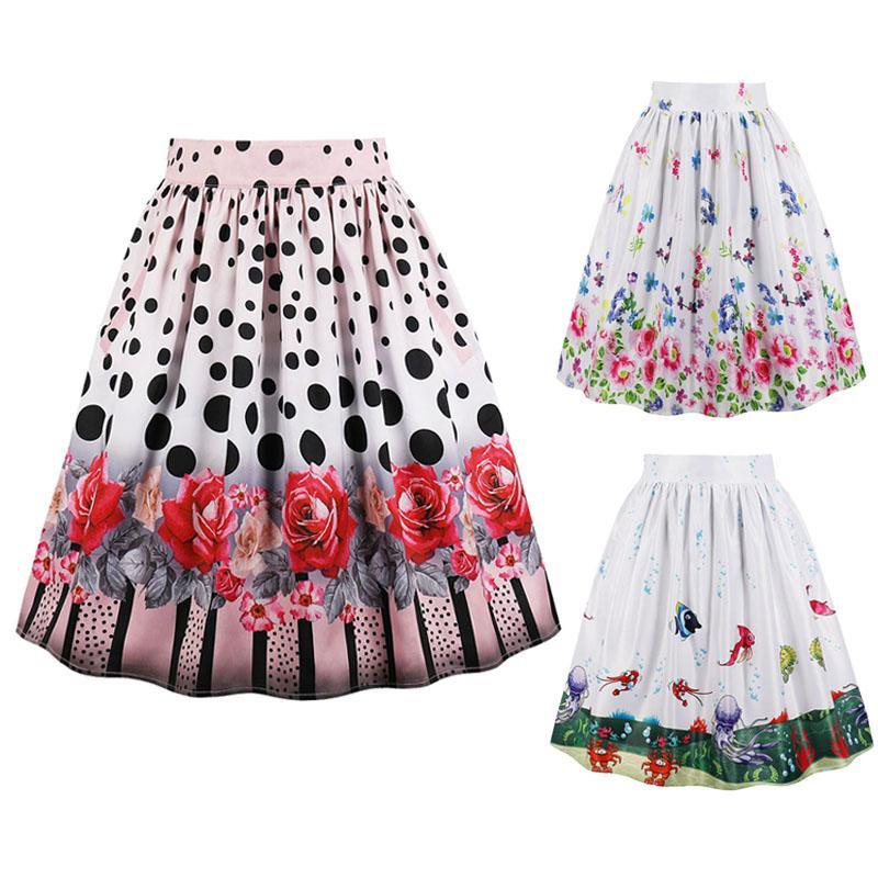 Summer Fashion Small Fish Jellyfish Rose Print Big Swing Skirt Retro 50s Hepburn Women Fresh High Waist Was Thin Half Body Skirt