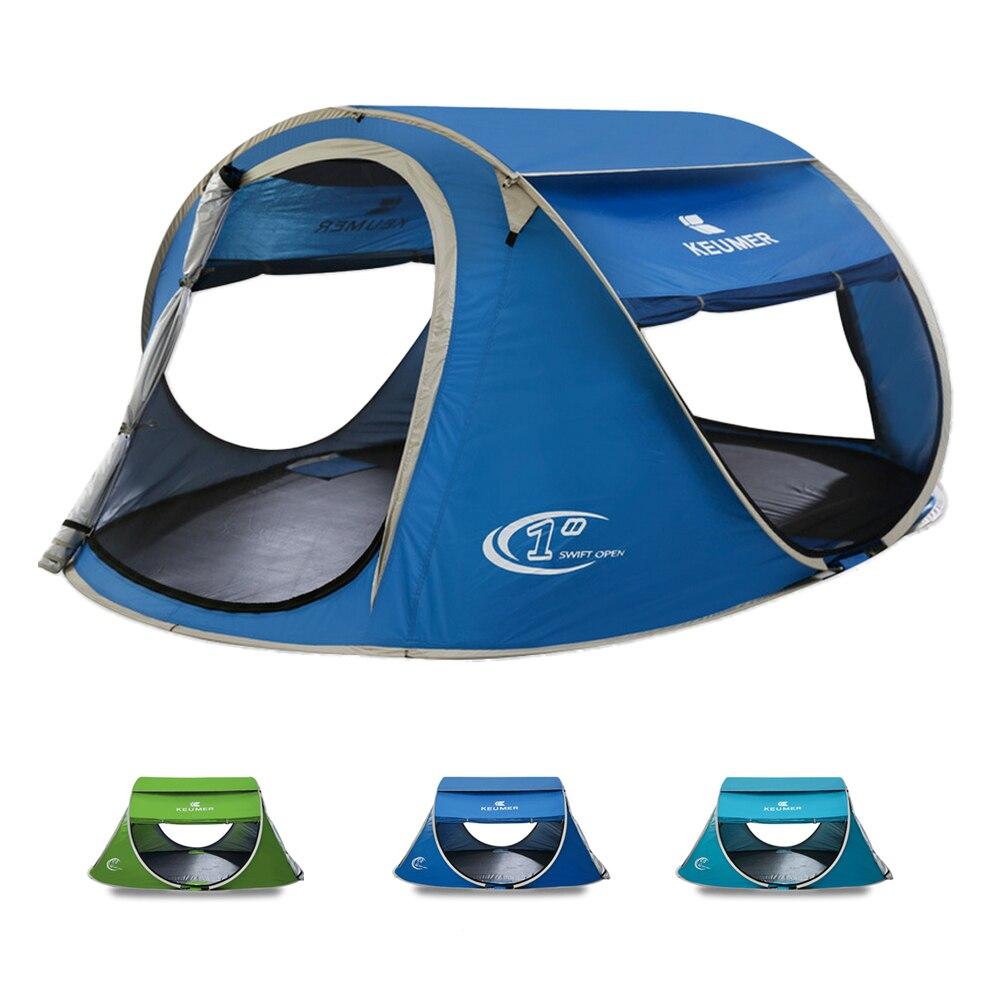 3-4 personne Pop Up tente de camping Grand Automatique Configuration Instantanée Pliable Voyager abri de plage anti-UV Revêtement avec un sac de transport