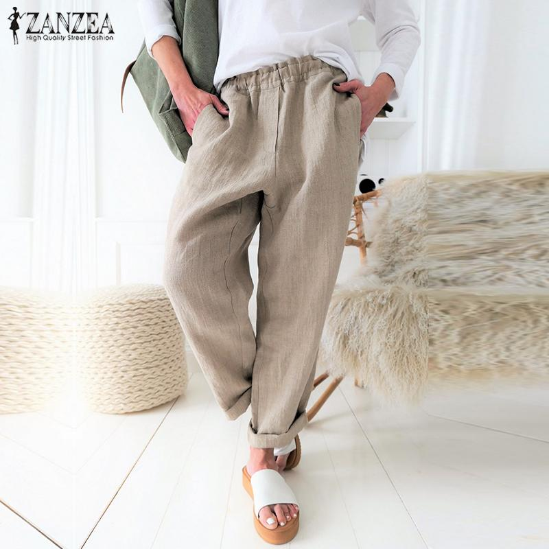 S 5XL ZANZEA Summer Long Harem Pants 2020 Women Solid Elastic Waist Turnip Trousers Casual Cotton Linen Work Pantalons Femme