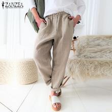 S 5XL ZANZEA Summer Long Harem Pants 2019 Women Solid Elasti