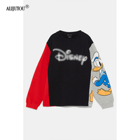 Zaraing Donald Duck Colorblock Women Hoodies Sweatshirts 2019 spring Mickey Mouse outwear Print Cartoon Casual Clothes For Lady