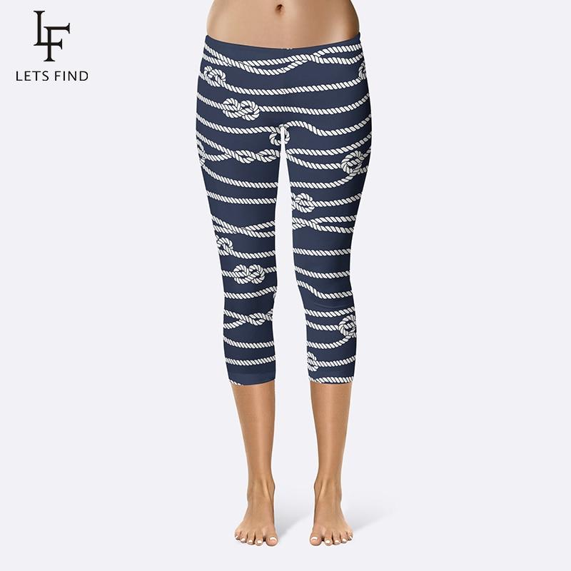 Fashion Rope Print Capri Leggings High Elasticity Milk Silk Mid-Calf Women Navy Blue Leggings  Ladies Summer New