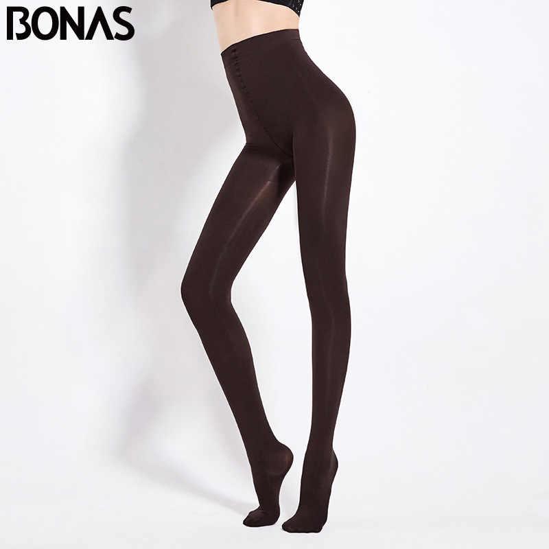 Bonas 2 ピース/ロット超弾性ベルベットレギンス 80D 女性秋春暖かいレギンスの女性の薄いベルベット collant ストレッチレギンス