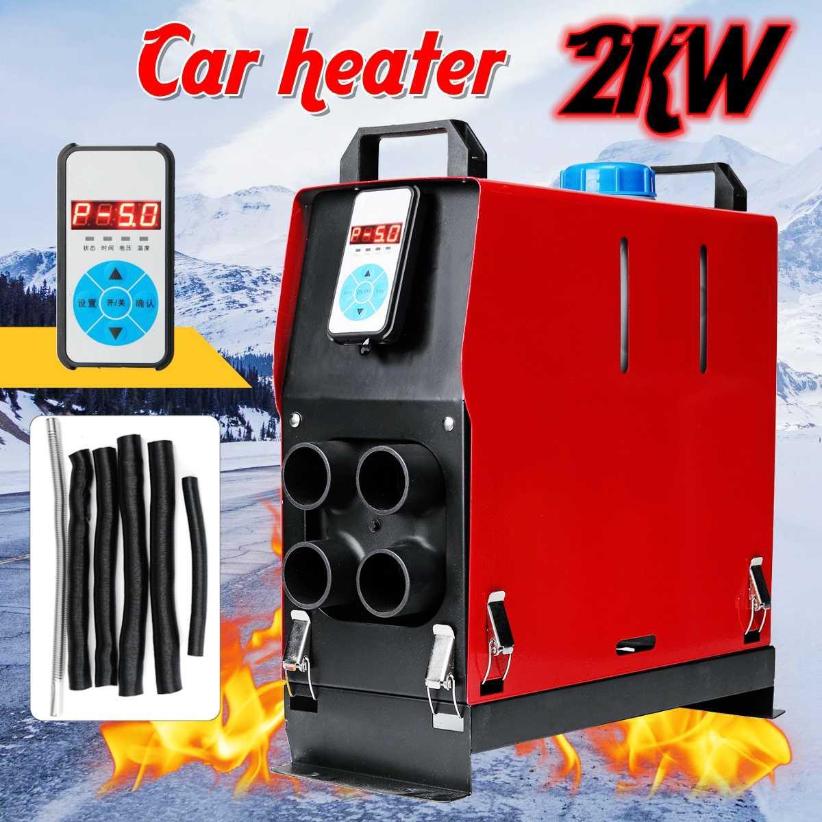 2KW 12 v Integrazione 4 Fori di Aria Diesel riscaldatore di parcheggio aria riscaldatore 2000 w interruttore Digitale interruttore di Riscaldamento Dell'automobile All In One risparmio di Spazio