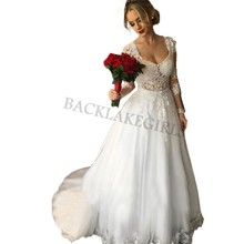 Long Sleeves Wedding Dresses With Detachable Skirt Scoop