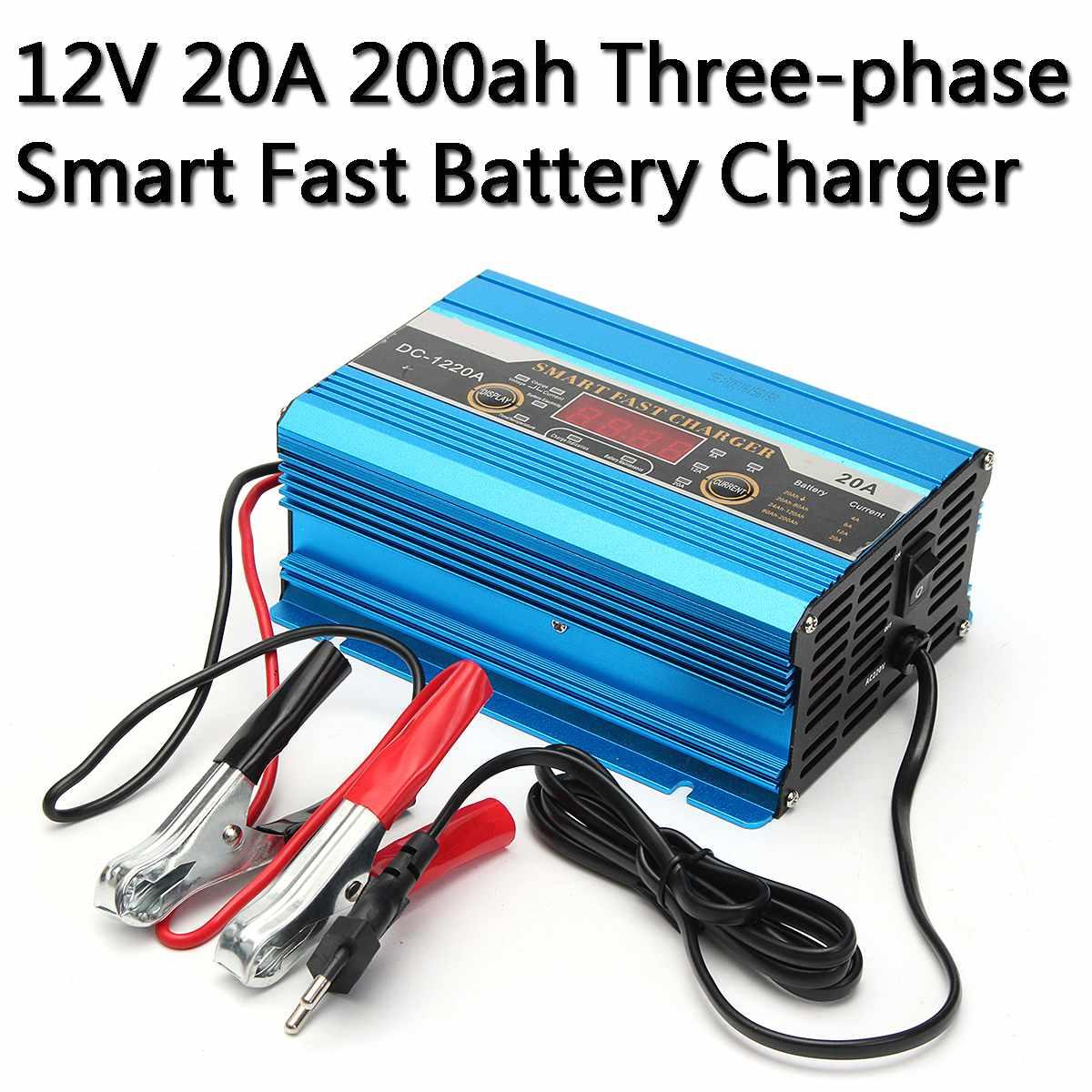Chargeur de batterie de voiture rapide intelligent triphasé 4 V 20A batterie de moto pur cuivre chargeur de réparation rapide intelligent avec affichage de LED