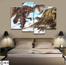 Home Decor Modular Canvas Picture 4 Piece Rathalos Monster Hunter Game Painting Poster Wall For Wholesale