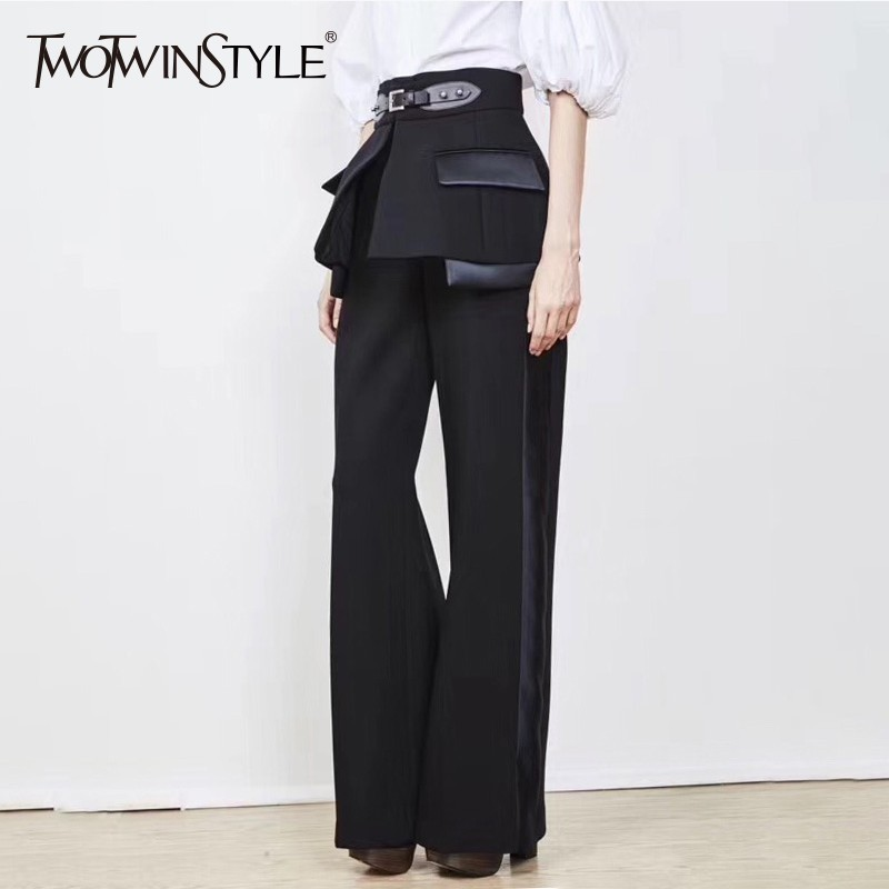 TWOTWINSTYLE 2020 Spring Trouser For Women's Wide Leg Pants With Belts High Waist Loose Hit Colors Pants Female Elegant Clothes