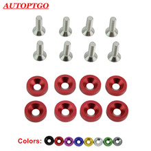 цена на 8Pcs M6 Car Modified Hex Fasteners Gasket Screw Bolt Nuts For JDM Engine Battery Guard Fender Bumper Licence Plate Washer Screws