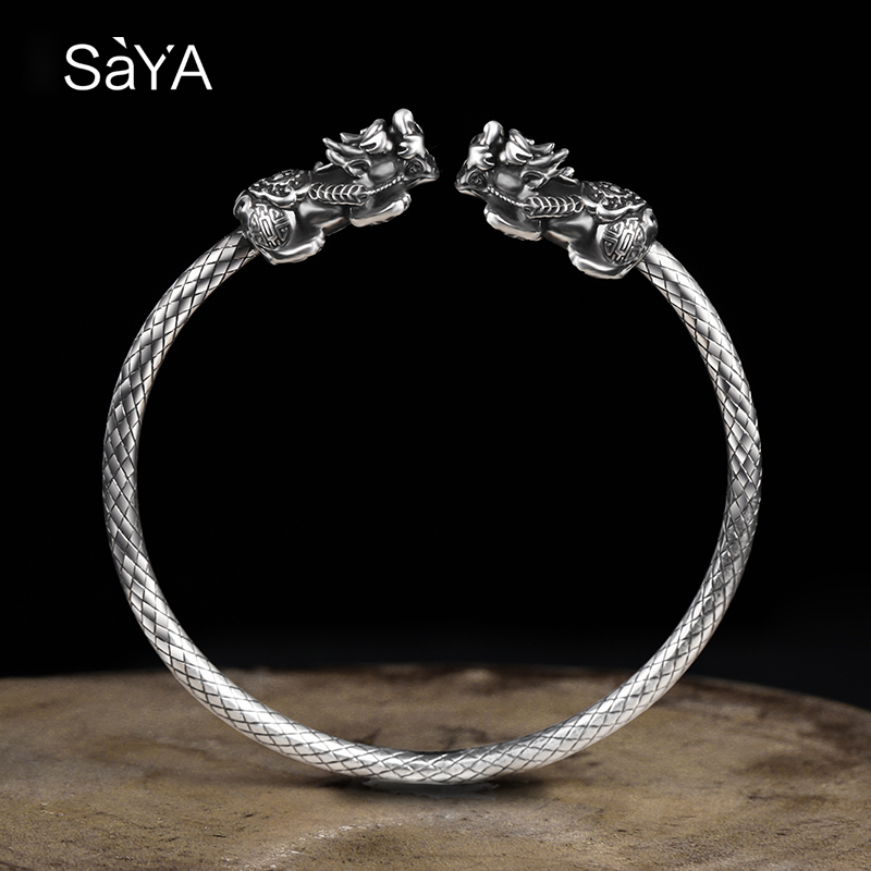 New Arrival 3.5mm Width Customized 999 Solid Sterling Silver Bangle for Man Adjustable Size with Two Pcs Lucky Brave TroopsNew Arrival 3.5mm Width Customized 999 Solid Sterling Silver Bangle for Man Adjustable Size with Two Pcs Lucky Brave Troops
