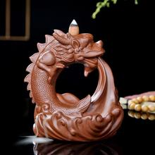 Ceramic Dragon Incense Burner Smoke Waterfall Backflow Censer Mountain River Handicraft Holder Encensoir