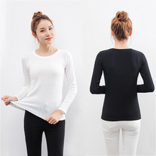 Long sleeve elastic knitted t-shirt female solid large size o-neck bottoming thin warm knitting cotton women
