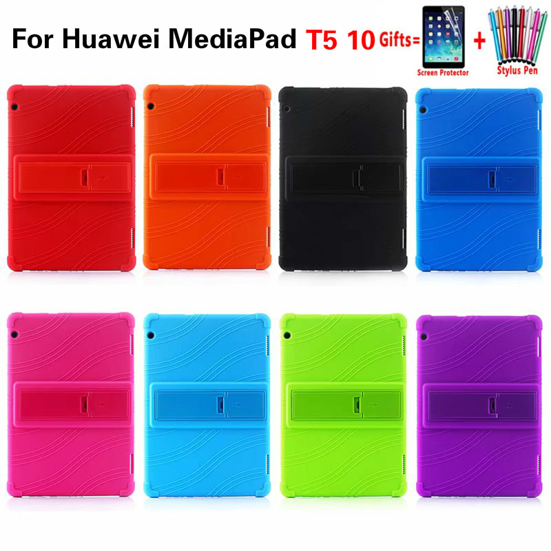 Silicone Tablet Stand Back Case For T5 10 Cover Shell For Huawei Mediapad T5 10 10.1 Inch Shockproof Soft Case Funda + Pen+ Flim