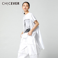 CHICEVER Summer T Shirts Women Top Cotton O Neck Print Short Sleeve Loose Big Size Hem Asymmetry Female T Shirt Clothes Fashion
