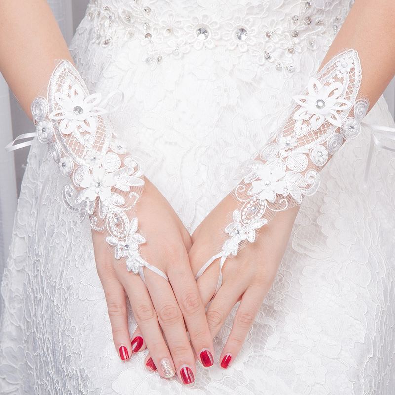 Beauty Girl Gloves Master Of Ceremonies Gown White Short Style Gloves Lace Diamond Trim Ceremonial Gloves
