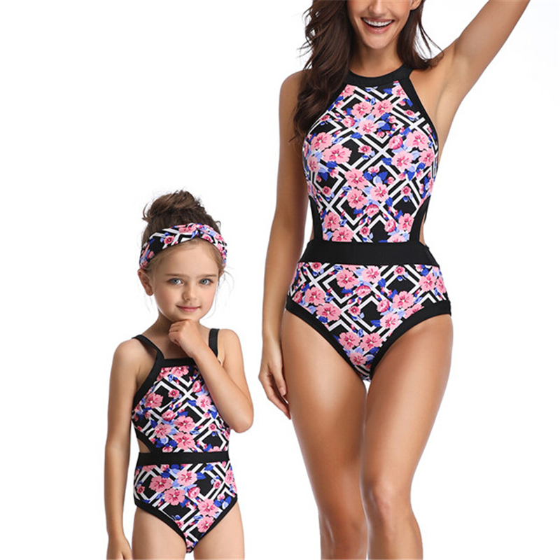 Family Match Mom Daughter Monokini Swimwear Striped Bathing One Piece Beachwear