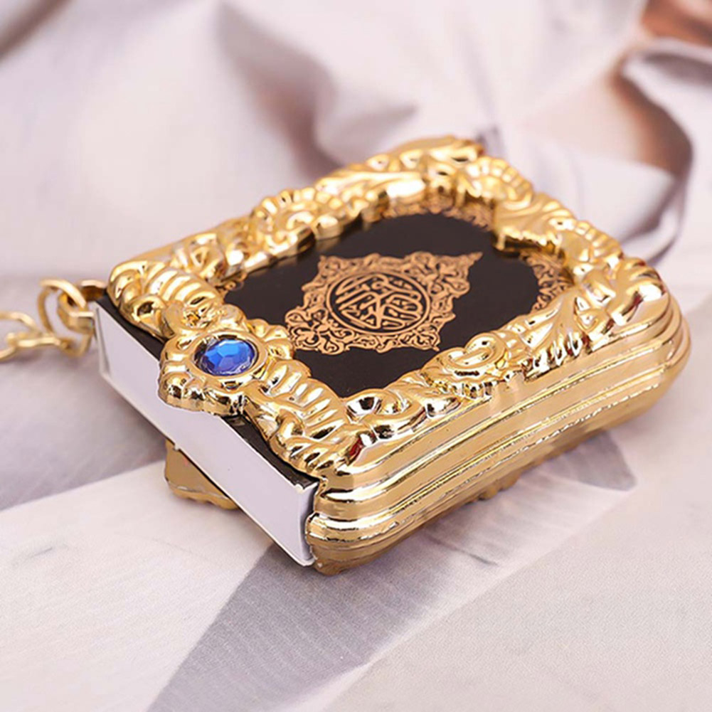 Muslim Resin Key Chain Islamic Mini Ark Quran Book Real Paper Can Read Pendant Key Ring Gold Crystal Book Key Chain New Style