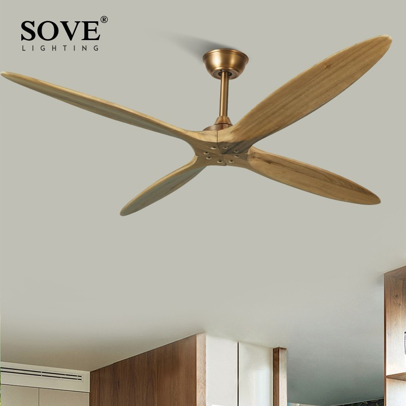SOVE 60 Inch Wooden Ceiling Fan Dc Remote Control Decorative Wood Ceiling Fans Without Light Fan