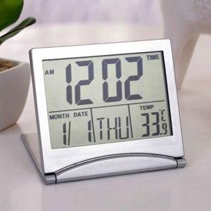 Image 4 - ミニ折りたたみ液晶デジタルアラーム時計デスクテーブル天気ステーションデスク温度ポータブル旅行アラーム時計