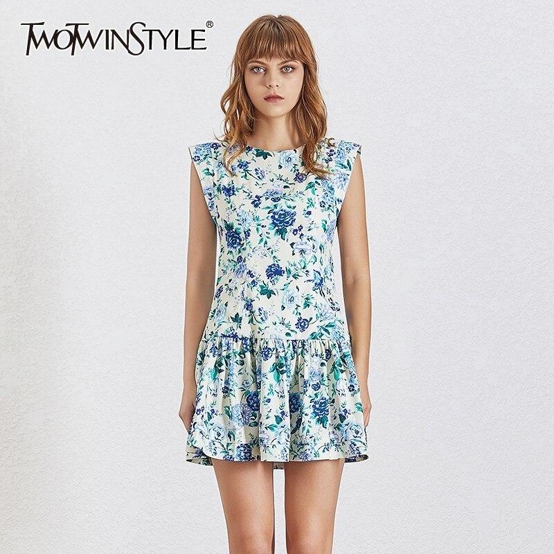 TWOTWINSTYLE Summer Print Off Shoulder Women Dress Sleeveless O Neck High Waist Ruffles Mini Dresses Female