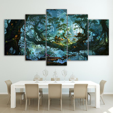 Canvas Painting Wall Art Modular HD Printed 5 Pieces Fantasy Houses Magic Forest Night Pictures Tree Poster Home Decor Framework magic forest style 13 pieces stair sticker wall decor