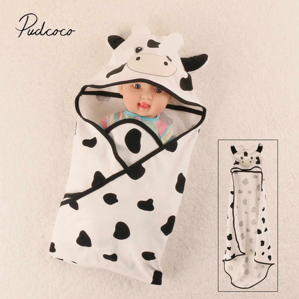 74a3ea0fb 2019 Brand New Newborn Infant Cute Baby Hoodie Blanket Crochet Swaddle  Cartoon Animal Cow Wrap Baby