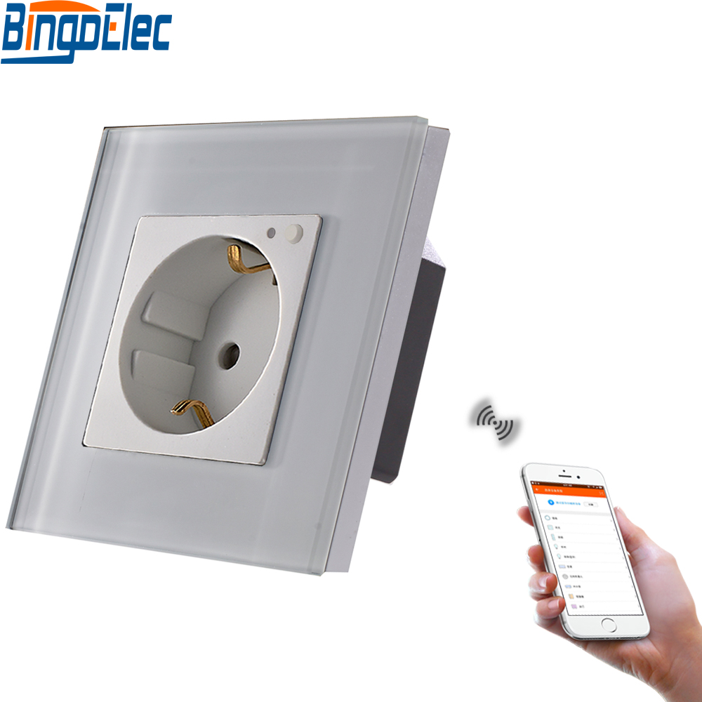 Bingoelec WIFI Wall Socket Germany Glass Panel Smart Home Socket Wireless Control By Phone Work With Amazon Echo Google Home