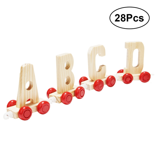 28PCS Kids Alphabet Train Preschool Educational English Letters Wooeden Learning Chips Toy for Children Toddlers