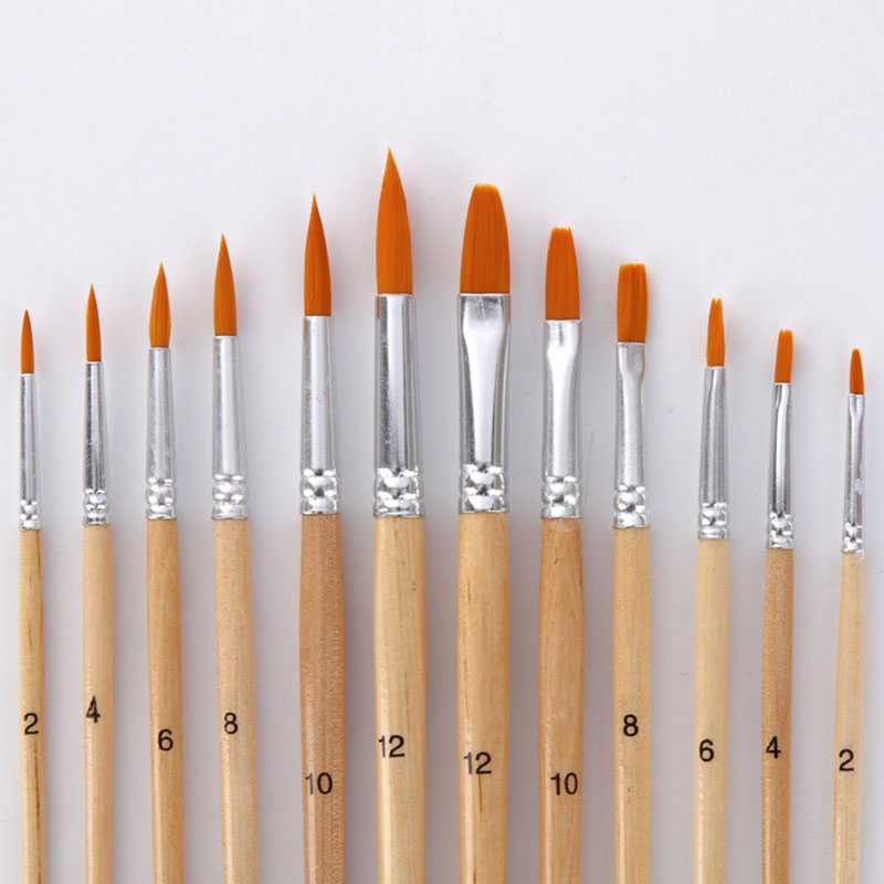 12Pcs/Lot Different Size Paint Brush Wood Color Nylon Hair Watercolor Painting Brushes Set For Oil Acrylic Drawing Art Supplies