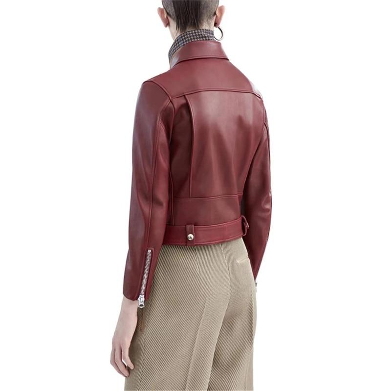 Image 5 - Genuine Leather Jacket Women Ladies Classic Real Lamb Shkin Overcoat Autumn Real Sheepskin Leather Jackets Female with BeltLeather Jackets   -