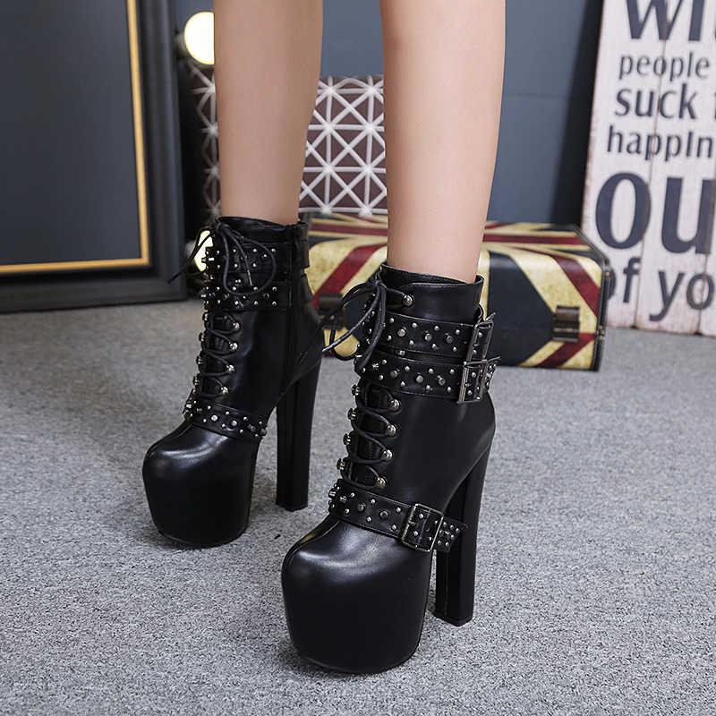 Lace up รองเท้า 2020 แฟชั่นข้อเท้าหนาหนารองเท้าผู้หญิงรองเท้าส้นสูงฤดูใบไม้ร่วงผู้หญิงฤดูหนาวรองเท้า rivet รองเท้าแพลตฟอร์มรองเท้า YMA405
