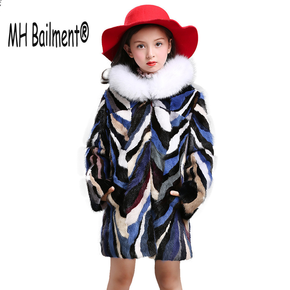 Children Kids Real Mink Fur Long Coat with Fox Fur Collar New Winter Girls Natural Fur Thick Jackets Warm Coat Boys good quality real mink fur hat winter knitted mink fur beanies cap with fox fur pom poms 2016 new brand thick female cap