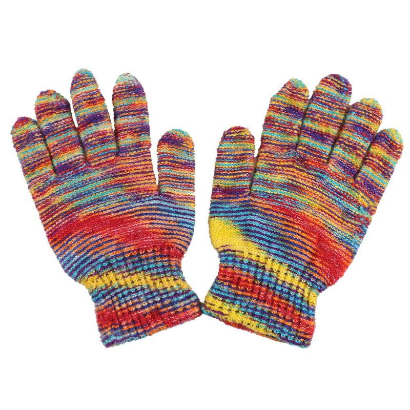 2019 Warm Fashion Women Warm Multicolor Mittens Cashmere Knitted Full Finger Gloves Random Color
