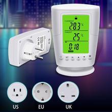 TS-2000 LCD Digital Programmable Wireless Thermostat Socket Home Intelligent Temperature Control Socket EU/US/UK Plug White