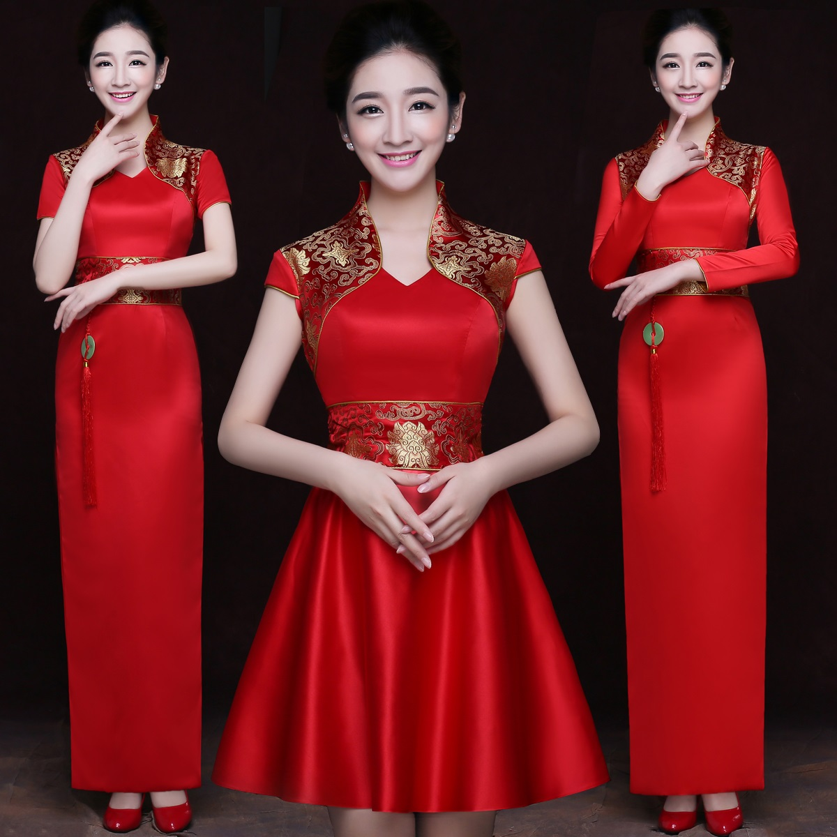 Classic Red Women Satin Pendant Qipao Vintage Improved Bride Wedding Dress Chinese Style Sleeve Detachable Cheongsam Vestidos