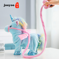Hot Models Ins Cute Unicorn Leashes Pegasus Dolls Will Walk To Sing Dragon Horse Plush Toys Children's Gifts jooyoo