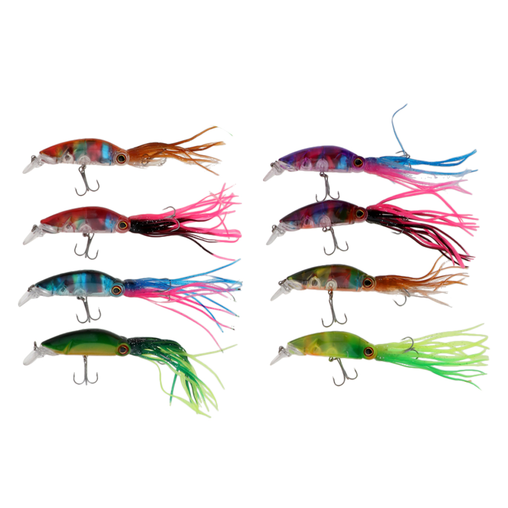 8pcs 10cm Outdoor Fishing Lures Octopus Squid Tackle Hooks Lure Fishing Baits Durable Fish Bait Minnow Artificial Fishing Lure