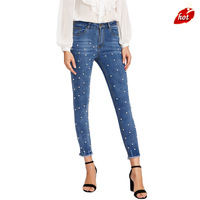 2018 Spring and Autumn New Women's Fashion Casual Nail Mid Waist Jeans Women's High Stretching Pencil Jeans Plus Size O8R2