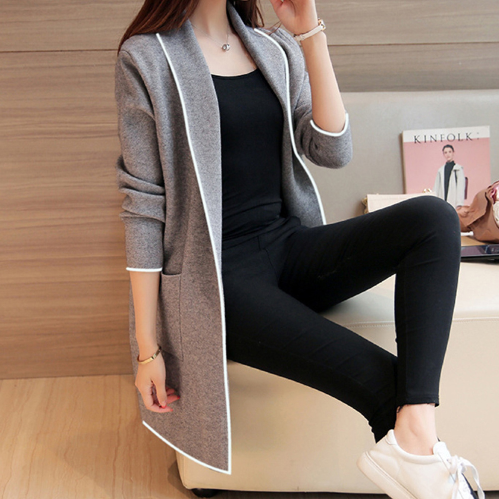 Plus Size Women Long   Coats   Long Sleeve Casual OL Spring Cardigan Pocket Solid Jumper   Coat   Black Gray Ladies Casual Jacket