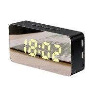 1Pcs New Creative Mobile Phone Charging Mirror Electronic Snooze Alarm Clock Led Display Clock