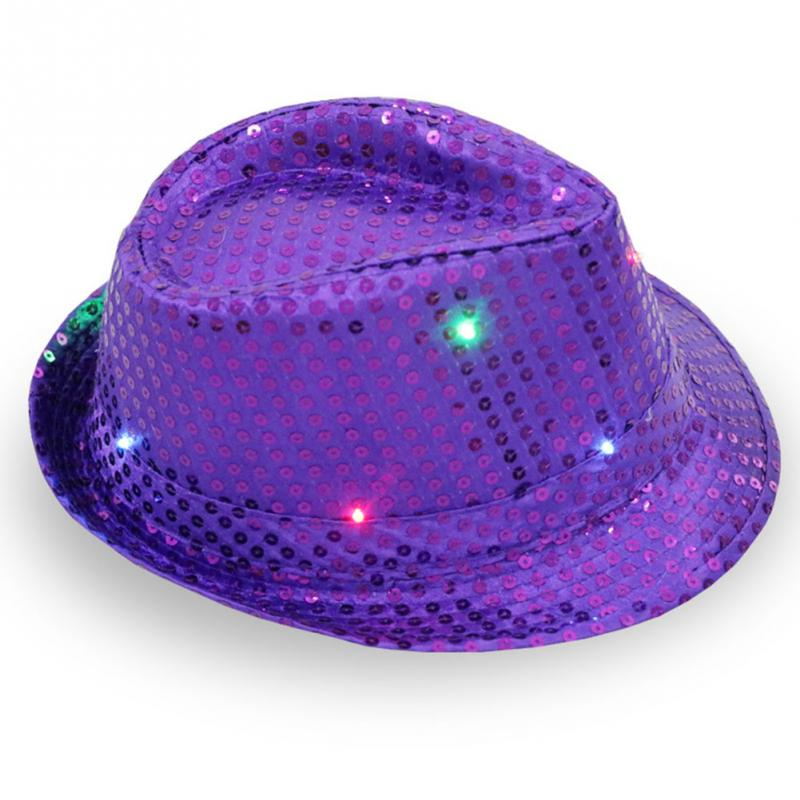 Lights Falshing Cowboy Caps Party Bar Flashing Light up LED Cap Fedora  Trilby Sequin Hat MJ Dancing Hats 96e6f88d7976
