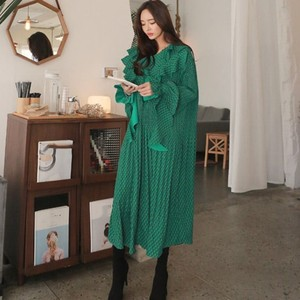 Image 2 - CHICEVER Summer Vintage Print Green Long Dresses For Women Flare Sleeve Ruffles High Waist Pleated Dress 2020 Fashion Tide
